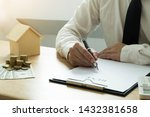 businessmen contract on trading ... | Shutterstock . vector #1432381658