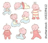 vector set   eight cartoon... | Shutterstock . vector #143239612