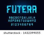 tech hologram alphabet font in...