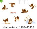Sparrow. Birds Cartoon. Set Of...