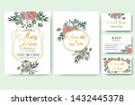 wedding floral invitation card... | Shutterstock .eps vector #1432445378