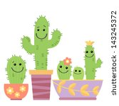 few funny cartoon cactus | Shutterstock .eps vector #143245372
