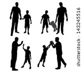 Group silhouettes of man and boy, family, dad and son