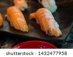 fly on sushi salmon .  fly eat... | Shutterstock . vector #1432477958