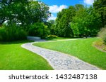 beautiful meadow with footpath... | Shutterstock . vector #1432487138