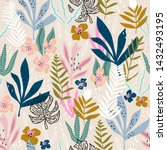 seamless pattern with flowers ... | Shutterstock .eps vector #1432493195