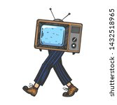 tv walks on its feet color... | Shutterstock .eps vector #1432518965