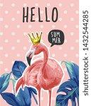 Typography Slogan With Flamingo ...