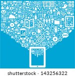 tablet   social media icons | Shutterstock .eps vector #143256322