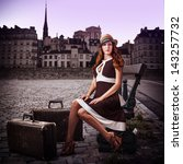 young sexy woman traveler with... | Shutterstock . vector #143257732