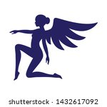 vector blue silhouette cute... | Shutterstock .eps vector #1432617092