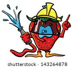 funny cartoon strawberry on the ... | Shutterstock .eps vector #143264878
