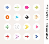 16 arrow sign icon set. color...