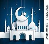 3d mosque and crescent moon... | Shutterstock .eps vector #143273038