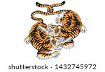 tiger in thai tradition style... | Shutterstock .eps vector #1432745972