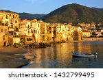 beautiful old harbor at sunset... | Shutterstock . vector #1432799495
