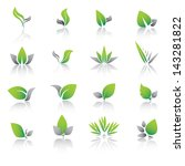 set of green leaf icons and... | Shutterstock .eps vector #143281822