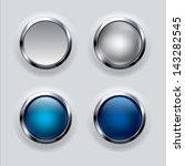 silver button set on gray... | Shutterstock .eps vector #143282545