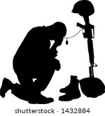 black and white vector silhouette graphic depicting a soldier kneeling at a memorial to fallen comrade