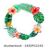 watercolor tropical floral...   Shutterstock . vector #1432912142
