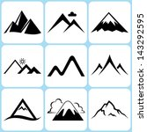 mountain icons set | Shutterstock .eps vector #143292595