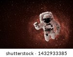 astronaut flies over the earth... | Shutterstock . vector #1432933385