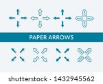 set of vector paper cut arrows. ...