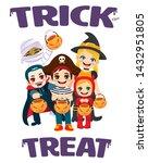 trick or treat kids wearing... | Shutterstock .eps vector #1432951805