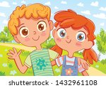 boy and girl are smiling ...   Shutterstock .eps vector #1432961108