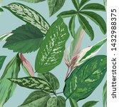 tropical leaves background ...   Shutterstock .eps vector #1432988375