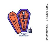 skeleton in a coffin with the... | Shutterstock .eps vector #1433014352