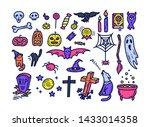 cute halloween icons set in... | Shutterstock .eps vector #1433014358