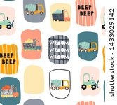 seamless pattern with funny... | Shutterstock .eps vector #1433029142