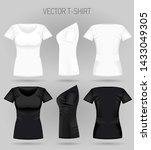 blank women's white and black t ... | Shutterstock .eps vector #1433049305