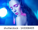 sexy adult woman with closed... | Shutterstock . vector #143308405