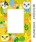 frame cats in flowers | Shutterstock .eps vector #143314138