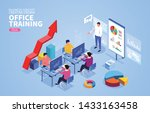 isometric office business... | Shutterstock .eps vector #1433163458