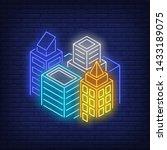 metropolis buildings neon sign. ... | Shutterstock .eps vector #1433189075