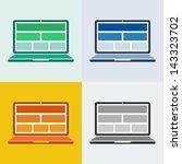 flat design of laptop in...