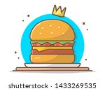 burger icon with gold crown.... | Shutterstock .eps vector #1433269535
