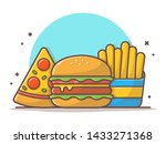 burger icon with slice of pizza ... | Shutterstock .eps vector #1433271368