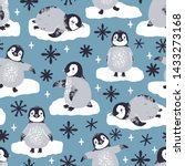 Stock vector vector seamless pattern with cute penguins and snowflakes winter repeated texture with cartoon 1433273168