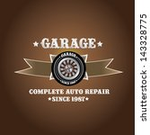 vector garage label with wheel. ... | Shutterstock .eps vector #143328775