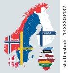 scandinavian and baltic regions ... | Shutterstock .eps vector #1433300432
