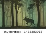 background with moose walking... | Shutterstock .eps vector #1433303018