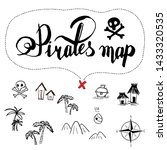 Pirates Map Icon Set Old Ink...