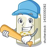 playing baseball soy milk in a... | Shutterstock .eps vector #1433330282