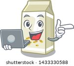 with laptop soy milk in a... | Shutterstock .eps vector #1433330588
