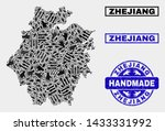Vector handmade composition of Zhejiang Province map and rubber seals. Mosaic Zhejiang Province map is organized with randomized hands. Blue seals with unclean rubber texture.
