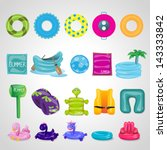 inflatable round tube icons set ... | Shutterstock .eps vector #143333842